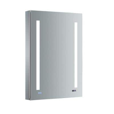 Tiempo 24 in. W x 36 in. H Recessed or Surface Mount Medicine Cabinet with LED Lighting, Mirror Defogger and Right Hinge