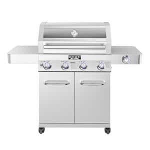 4-Burner Propane Gas Grill in Stainless with Clear View Lid, LED Controls and Side Burner