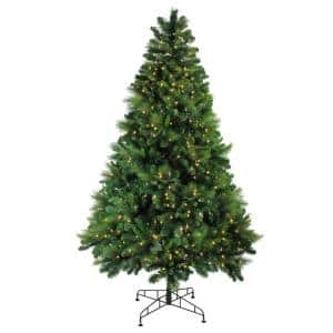 90 in. Pre-Lit Sequoia Mixed Pine Artificial Christmas Tree with Warm White LED Lights