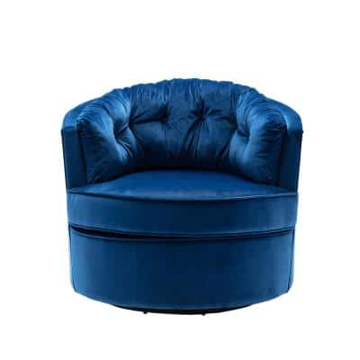 Tookes Blue Tufted Swivel Barrel Arm Chair