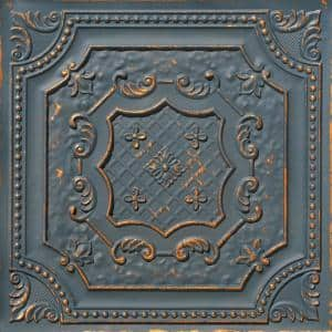 Elizabethan Shield 2 ft. x 2 ft. Glue Up PVC Ceiling Tile in Graphite Gold