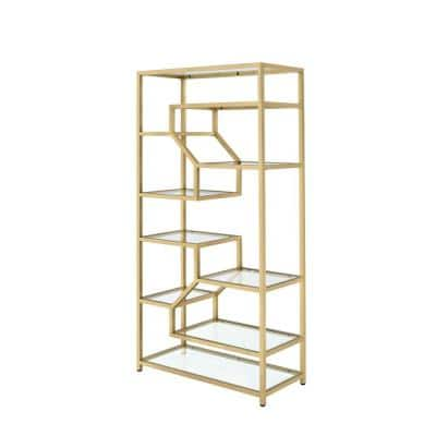 77 in. Gold/Clear Metal 9-shelf Etagere Bookcase with Open Back