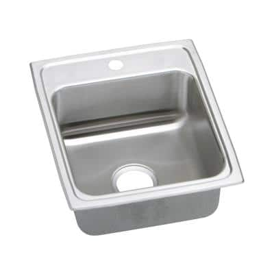 Lustertone Drop-In Stainless Steel 17 in. 1-Hole Single Bowl ADA Compliant Kitchen Sink with 5.5 in. Bowl