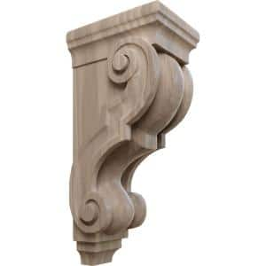 6-3/4 in. x 5 in. x 14 in. Unfinished Wood Walnut Large Traditional Corbel