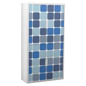 Paperflow easyOffice 80 in. Tall with 4-Shelves Storage Cabinet in Blue Squares
