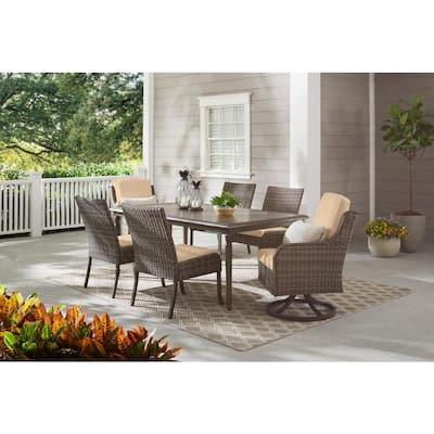 Windsor 7-Piece Brown Wicker Rectangular Outdoor Dining Set with Sunbrella Beige Tan Cushions
