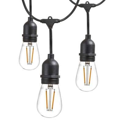 25 ft. Outdoor String Lights Commercial Grade LED Hanging Lights - 9 Light Bulbs Included