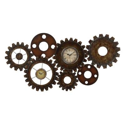 Brown Metal Industrial Wall Clock