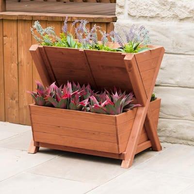 Wooden 2-Tier Planter Box
