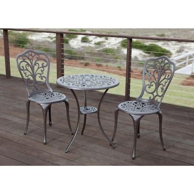 Faustina Antique Bronze 3-Piece Aluminum Round Outdoor Bistro Set