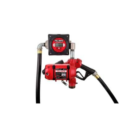 120-Volt 25 GPM 1/3 HP Continuous Duty Fuel Transfer Pump with Standard Accessories and Digital Meter (Bung Mounted)