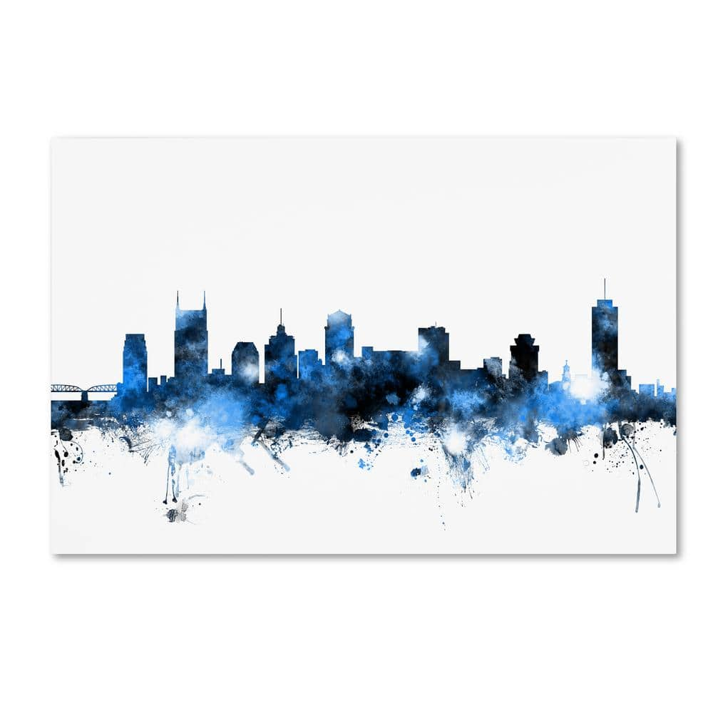 Trademark Fine Art 12 In X 19 In Nashville Tennessee Skyline White By Michael Tompsett Floater Frame Architecture Wall Art Mt1170 C1219gg The Home Depot