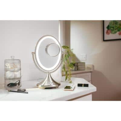 Lighted 8.5 in. x 14.1 in. x 5.5 in. Alexa Voice Service Enable Freestanding Vanity Mirror with Bluetooth Audio Charging