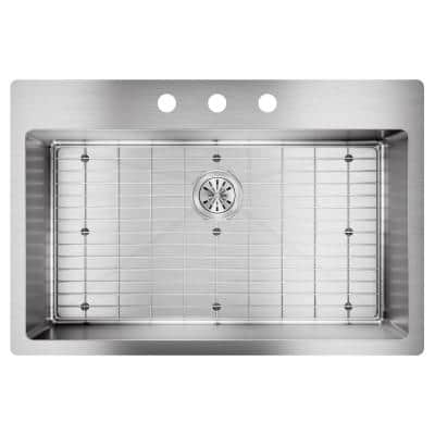 Crosstown Drop-in/Undermount Stainless Steel 33 in. 3-Hole Single Bowl Kitchen Sink with Bottom Grid