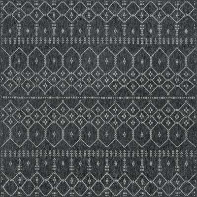 Serenity Black 7 ft. 7 in. x 7 ft. 9 in. Outdoor Square Area Rug