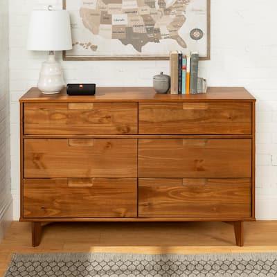 6-Drawer Caramel Mid Century Modern Wood Dresser