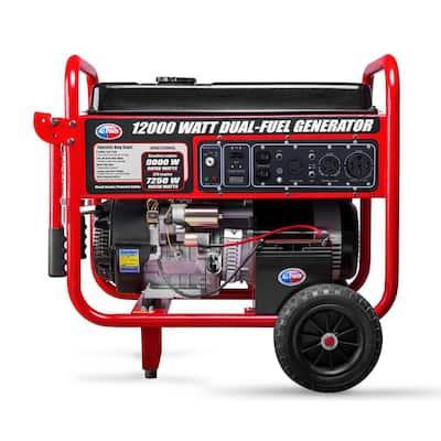 12,000-Watt Dual Fuel Propane and Gasoline Powered Electric Start Portable Generator