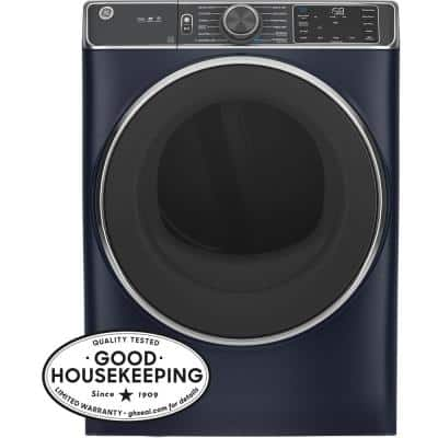 7.8 cu. ft. Smart 240-Volt Sapphire Blue Stackable Electric Vented Dryer with Steam and Sanitize Cycle, ENERGY STAR