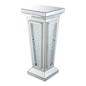 36 in. H Silver Wood and Mirror Pedestal Stand with Faux Crystals