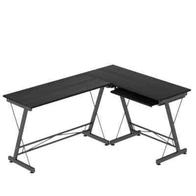62.2 in. L Shaped Black Wooden Computer Desk With Metal legs Home Office Workstation Writing Desk Gaming Table