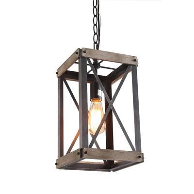 Collin1-Light Farmhouse Black Wood Lantern Foyer Pendant