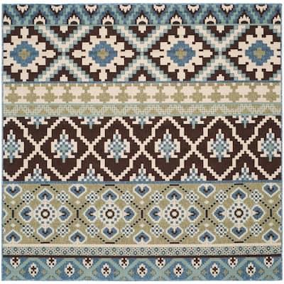 Veranda Chocolate/Blue 3 ft. x 3 ft. Tribal Aztec Indoor/Outdoor Square Area Rug