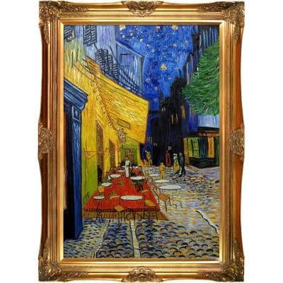 """44 in. x 32 in. """"Cafe Terrace at Night (Luxury Line) with Victorian Gold Frame"""" by Vincent Van Gogh Framed Wall Art"""