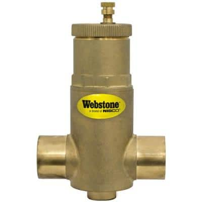 1 in. Forged Brass Sweat Air Separator with Removable Vent Head and Coalescing Medium