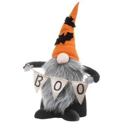 15 in. Halloween Gnome Holding White Banner