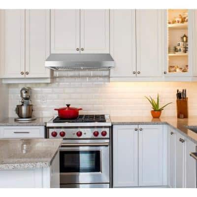 30 in. Under Cabinet Ducted Range Hood with Light and Push Button in Stainless Steel