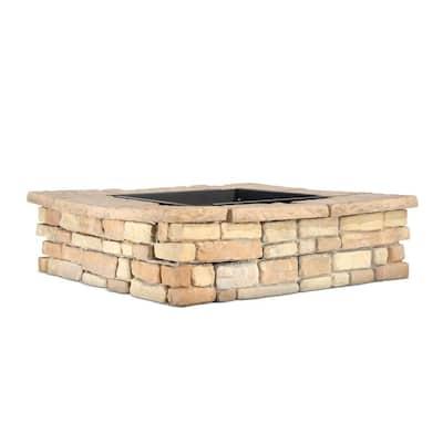 28 in. x 14 in. Steel Wood Random Stone Brown Square Fire Pit Kit