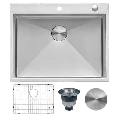28 in. Drop-In Tight Radius Topmount 16-Gauge Stainless Steel Kitchen Sink Single Bowl