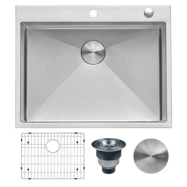 Ruvati 28 In Drop In Tight Radius Topmount 16 Gauge Stainless Steel Kitchen Sink Single Bowl Rvh8008 The Home Depot