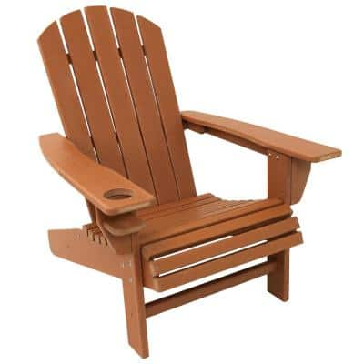 All-Weather Brown Plastic Outdoor Adirondack Chair with Drink Holder