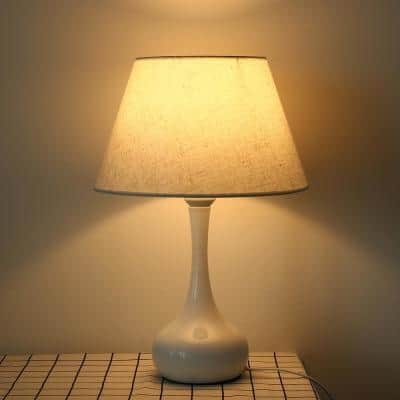 17.71 in. White Steel Table Lamp with Linen Shade