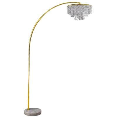 86 in. 2-Tier Clos Glam Gold Arch Floor Lamp On Marble