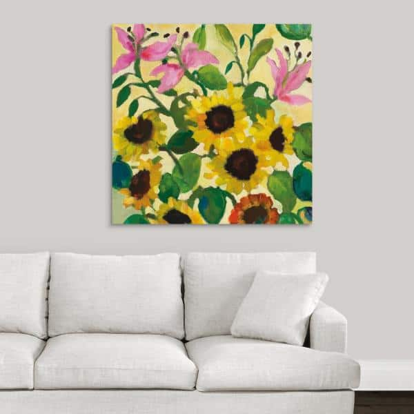Greatbigcanvas 36 In X 36 In Sunflowers And Pink Lilies By Kim Parker Canvas Wall Art 2542566 24 36x36 The Home Depot