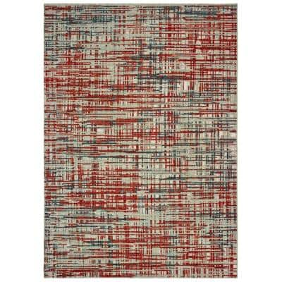 Matteo Grey/Red 10 ft. x 13 ft. Abstract Etchings Area Rug