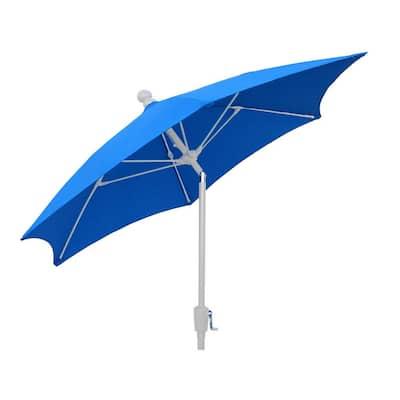7.5 ft. 2-Piece White Pole Tilt Patio Umbrella in Pacific Blue Canopy