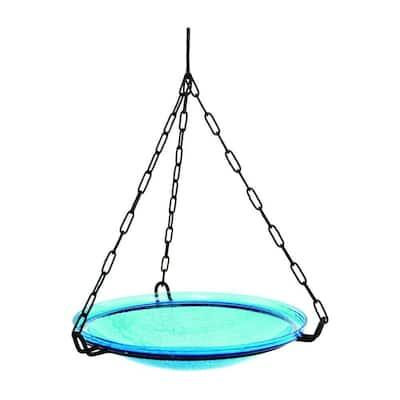 14 in. Dia Teal Blue Reflective Crackle Glass Hanging Birdbath Bowl