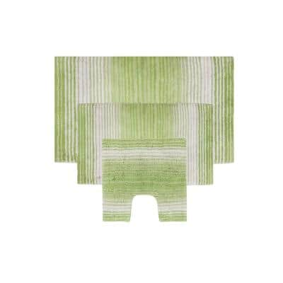 Gradiation Rug Collection Green 17 in. x 24 in. / 21 in. x 34 in. / 20 in. x 20 in. Bath Rug Set