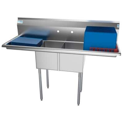 56 in. Freestanding Stainless Steel 2 Compartments Commercial Sink with Drainboard
