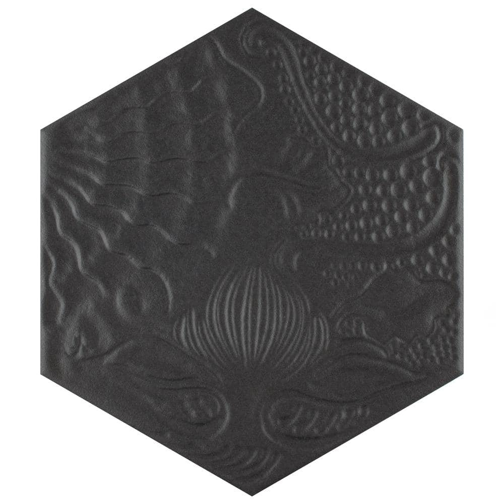 Merola Tile Gaudi Hex Black 8 5 8 In X 9 7 8 In Porcelain Floor And Wall Tile 11 56 Sq Ft Case Fcd10gbx The Home Depot