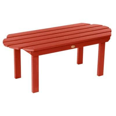 Classic Westport Rustic Red Rectangular Recycled Plastic Outdoor Coffee Table