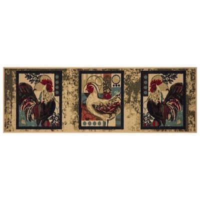 Siesta Kitchen Collection Chicken/Rooster Beige 1 ft. 8 in. x 4 ft. 11 in. Kitchen Runner Rug
