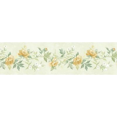Casual Rose Green, Yellow Wallpaper Border