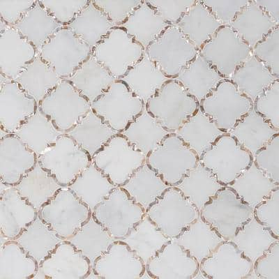 Veil Diana White 13.8 in. x 13.8 in. Polished Marble Mosaic Tile (1.32 sq. ft./Each)