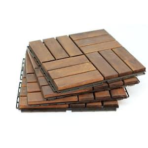 12 in. x 12 in. Acacia Teak Wood Flooring Floor Tile - Great Backyard Decor to Update Your Look 10 sq. ft. Per Box Tiles