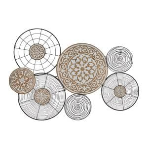 28 in. x 41 in. Multi Colored Metal Eclectic Abstract Wall Decor