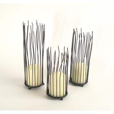Willow Black Iron Pillar Candle Holders (Set of 3)